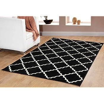 Contemporary Trellis Modern Geometric Area Rug Black 635 furnishmyplace- 5x8