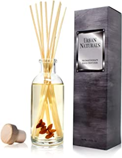 Urban Naturals Bay Rum & Sandalwood Reed Diffuser Scent Sticks Gift Set   Powdery Bay Rum, Sandalwood, Earthy Patchouli & Musk   A Bold, Spicy, Masculine Scent   Smells Like an Old Time Barber Shop