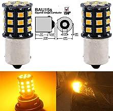 2-Pack 1056 BAU15S 7507 12496 Car Turn Signal Lights Bulbs - 12V-24V Extremely Bright Amber/Yellow 2835 33 SMD LED Light Bulb - Replacement for Tail Blinker LED Bulb Light
