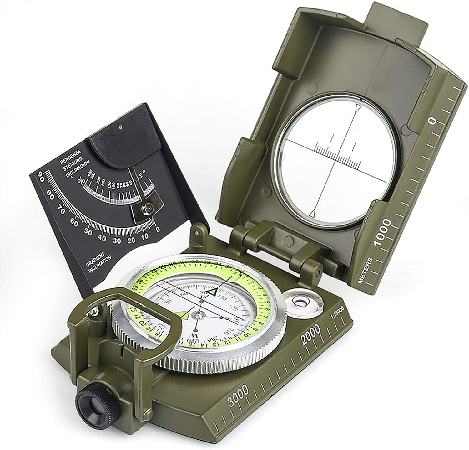 BIJIA Professional Multifunctional Compass All Metal Military Waterproof High Accuracy Compass with Inclinometer and Bubble Level for Hiking Climbing Boating Exploring Hunting Geology
