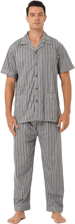 JEEYJOO depot Mens Pajama Set NEW Plaid Pants Button Down Shor Long