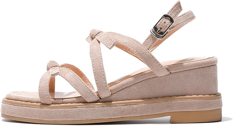 SANDALEN Neueste Wedge Sommer süße Bow Student 6cm High Heels, Plattform Damenschuhe (Farbe   Khaki, größe   37)  | Neuankömmling