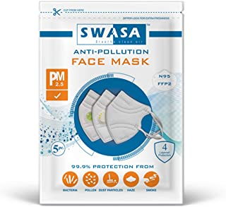 SWASA - Breathe clean air N95 Mask FFP2 Type Certified Reusable & Washable with Nose Pin (PM 2.5, Pack of 5, Without Valve)