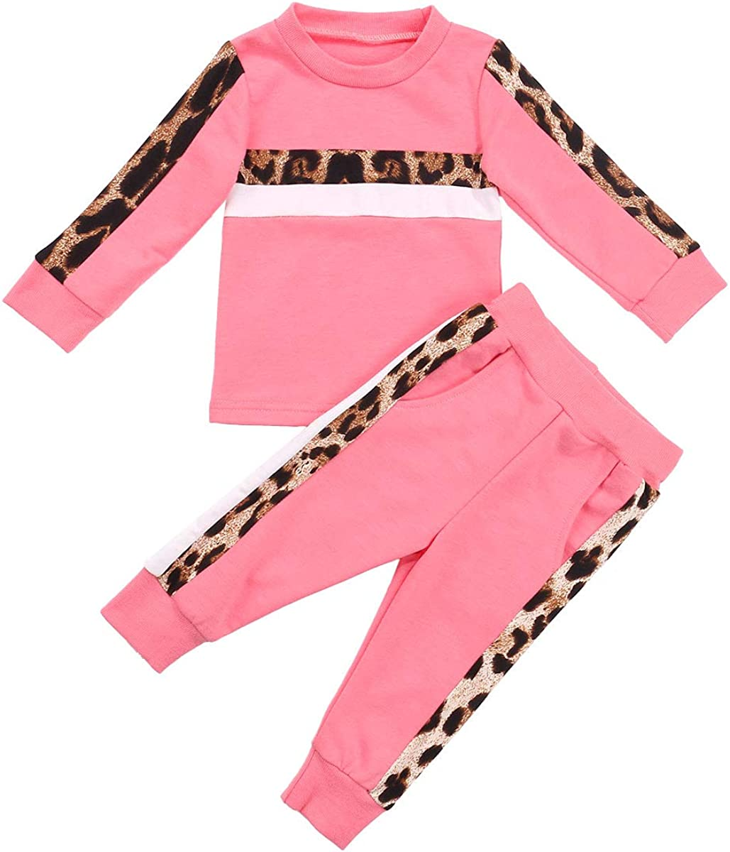 Cocoday Toddler Baby Boy Girl Leopard Clothes Long Sleeve Solid Sweatshit Pullover Top + Leggings Pant Fall Winter Outfits