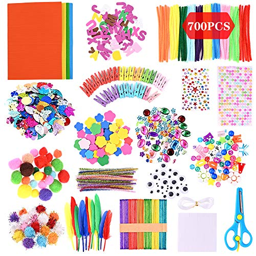 GOLDGE 700pz Kit de Manualidades para niños, Pipe Cleaners Crafts Set Pompones Ojos Manualidades Kit Crafts Set y Pipe Cheners para DIY Art Supplies Creativo Regalo Manualidades Labores para Niños