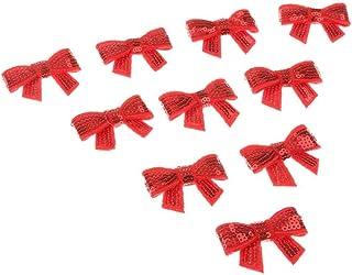 PULABO DIY Navidad adornos para el cabello Bowknot Accesorios para el cabello Pajarita para niños Niña Uso 10pcs Rojo Crea...
