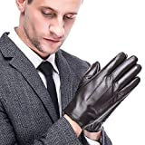 Leather Gloves for men,Anccion Best Touchscreen Winter Warm Italian Nappa Geniune Leather Gloves for Men's Texting Driving Cashmere/fleece Lining (Large, Black)
