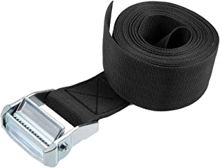 uxcell Cam Buckle Tie Down Lashing Strap 4.5Mx50mm 500Kg Load Cap Polypropylene for Moving Cargo, Black, Pack of 1