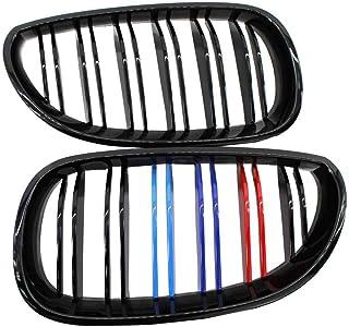 Bomcomi 1 Coppia Anteriore del Rene griglia per BMW Serie 5 F10 F18 10-15 Doppia Slat Linea Nero Opaco Paraurti Anteriore Grill