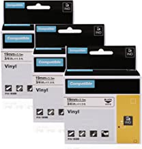Replace Dymo 18489 3/4 Inch Flexible Nylon Label Tape Compatible with DYMO Rhino 5200 4200 5000 6000 Industrial Label Maker LabelWriter 450 Duo, Black on White, 3-Pack