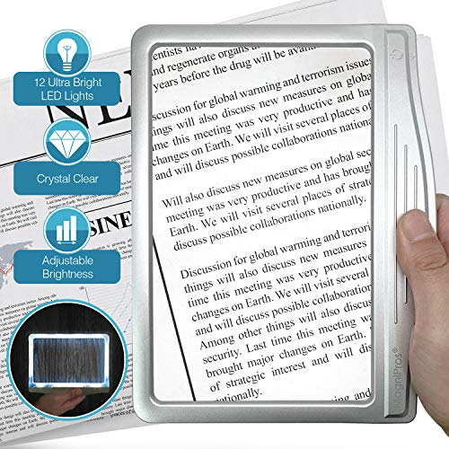 MagniPros 3X Large Ultra Bright LED Page Magnifier with 12 AntiGlare Dimmable LEDsEvenly Lit Viewing Area amp Relieve Eye StrainIdeal for Reading Small Prints amp Low Vision Seniors with Aging Eyes