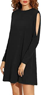 Leadingstar Women Cold Shoulder Long Sleeve Round Neck Loose Tunic T-Shirt Dress