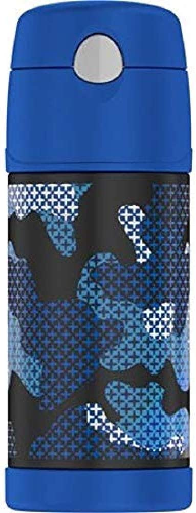 THERMOS FUNTAINER Vacuum Insulated Straw Bottle, 12-Ounce, Blue Cross Camo