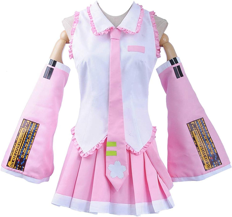 Vocaloid Sakura Miku Cosplay Costume Pink Top Ruffle Skirt (XSmall Female, Pink)