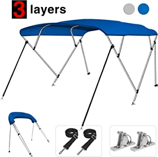 KAKIT 3 / 4Bow Bimini Top Boat Cover with 2 Rear Support Poles + 2 Straps + Storage Boot + 2 316 Quick Release Stainless Steel Deck Mount + 1 Inch Aluminum Frame