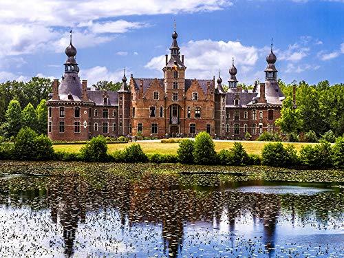 Gante Bélgica Kasteel Van Ooidonk Castles Pond Cities Puzzle para Adultos niños 1000 Piezas Juego de Rompecabezas de Madera Regalo decoración del hogar Recuerdo de Viaje Especial