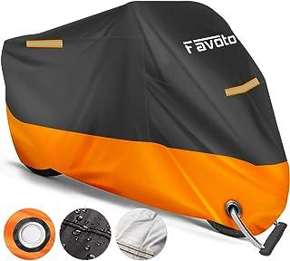 Favoto Funda para Moto Cubierta de la Moto 210D Impermeable Protectora a Prueba de UV Lluvia Polvo Viento Nieve Excremento de Pájaro al Aire Libre XXL Negro+Naranja