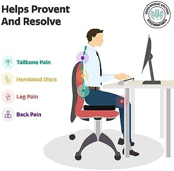 Ziraki Coccyx Seat Cushion Orthopedic, Luxury Chair Pillow, 100% Memory Foam, For Back Pain Relief & Sciatica & Tailb...