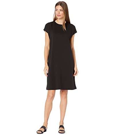 Eileen Fisher Tencel Organic Cotton Fleece Crew Neck Boxy Dress