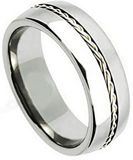 8MM Comfort Fit Titanium Wedding Band Braided Sterling Silver Inlay Grooved Titanium Ring (Size 7 to 15)