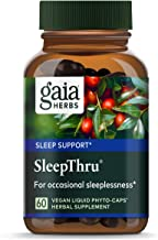 Gaia Herbs SleepThru, Vegan Liquid Capsules, 60 Count - Non-Habit Forming Herbal Sleep Aid Promotes Restorative Sleep, Organic Ashwagandha for Adrenal Support, No Melatonin
