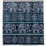 chillChur-DD Shower Curtain Set Tende da doccia Vintage indiano Etnico Elefante bagno impermeabile tenda bagno decorazioni per la casa, 168X183 cm (66X72 pollici) con 12 ganci