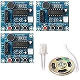 Cikuso 3 Piezas ISD1820 Sonido grabacion de Voz modulo de reproduccion Microfono Audio Altavoz