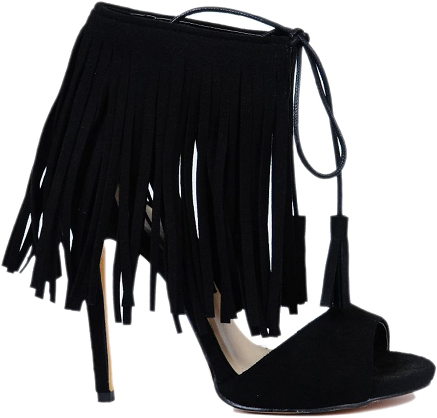 Women's Fringed Sandals Black Suede Fish Mouth High Heels Straps Women's Sandals Cool Boots Heeled Sandals Open Toe Sandals(Heel Height  6-8cm)