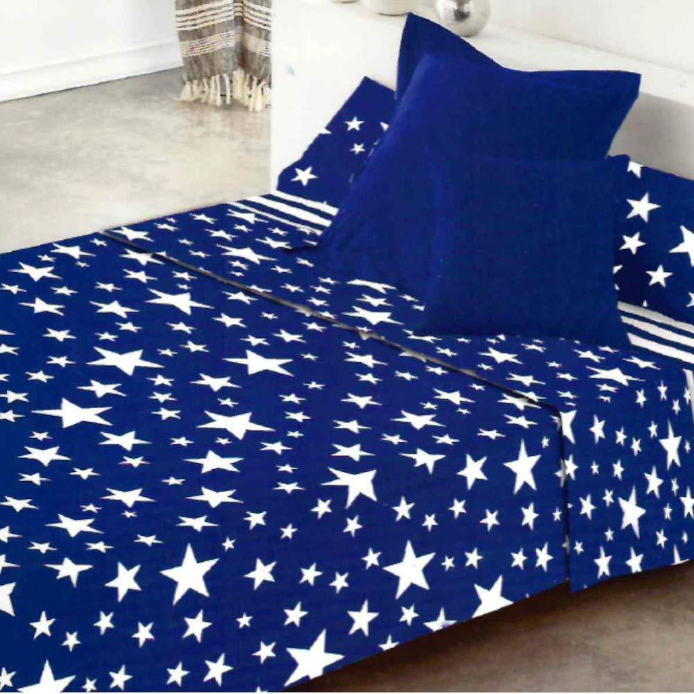 COTTON ARTean Juego de sabanas GIVETTE Azul Cama de 180 x 190/200 ...