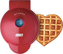 Dash DMW001HR Mini Maker Machine Shaped Individual Waffles, Paninis, Hash browns, other on the go Breakfast, Lunch, or Snacks, Heart Red
