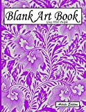 Blank Art Book: Sketchbook For Drawings, Artists Edition, Color Gray With Purple, Plant Pattern (Soft Cover, White Stout Paper, 100 Pages, Big Size 8.5' x 11' ≈ A4)