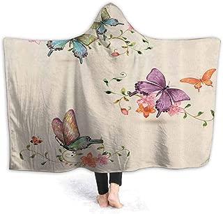 prunushome Hoodie | Hooded Robe Wings Moth Transformation Spa, Bathrobe, Sweatshirt, Fleece, Pullover, Blanket, Mens, Womens 60W by 50H Inches(with Hooded)