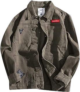 Fubotevic Men Long Sleeve Camo Button Down Plus Size Rugged Unlined Wear Denim Jacket Coat