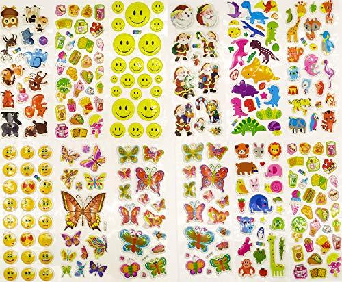 D Kinderaufkleber schwellen Aufkleber 950+ Kinderaufkleber 48 Sportwagen Kuchen Essen Cartoon Tier Schmetterling Cartoon Sammelalbum