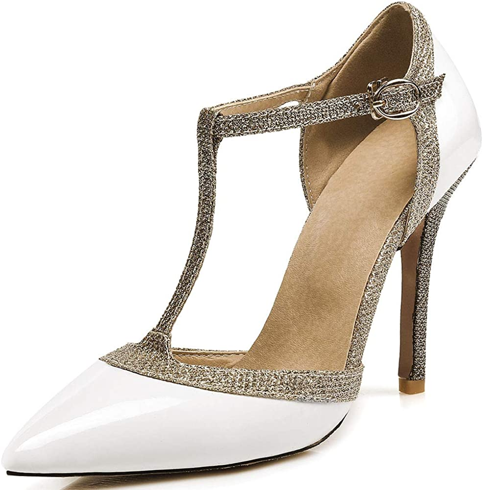 At the price of surprise VIMISAOI Women's Stiletto Sale special price High Heel T-Strap Point Sequins Pumps