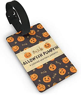 SCcdyhlunsd Unisex Premium Luggage Tags With Hand Strap Halloween Pumpkins Pattern Luggage Bag Tags Travel ID Identification Labels Set for Bags & Baggage Luggage Tag