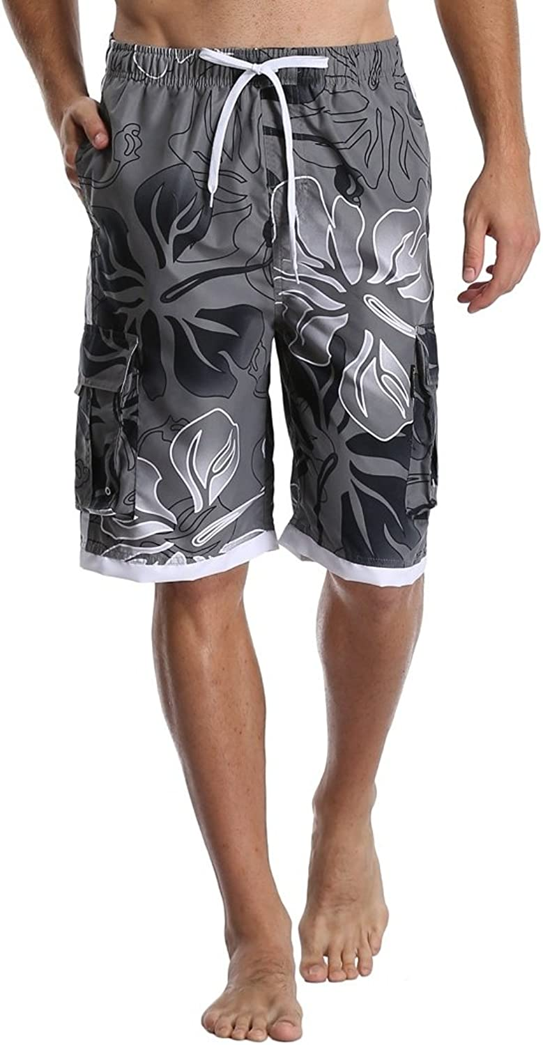 62aefe65c90f2 DESTTY Men's Quick Quick Quick Dry Beach Board Shorts Printed Swim Trunks  Floral Casual Swim Shorts with Pockets e08e7d