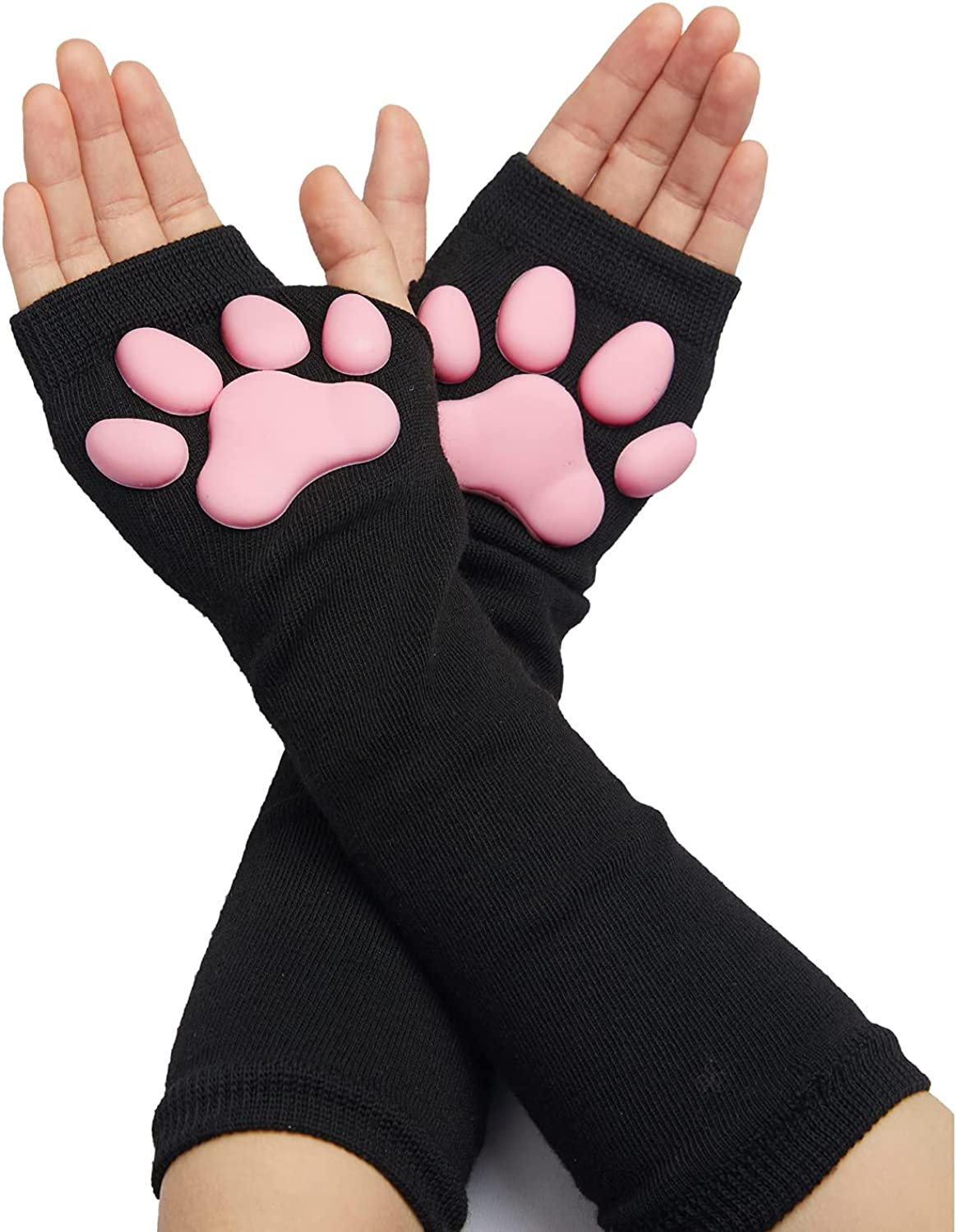 Cute Cat Paw Mittens Gloves, Kawaii Cat Cosplay Kawaii Soft 3D Toes Beans Fingerless Cat Claw Paws Pad Sleeve