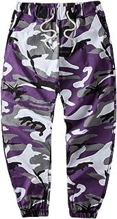 HANQIU Men's Casual Pure Cotton Woven Camouflage Camo Joggers Jogger Pants Sweatpants
