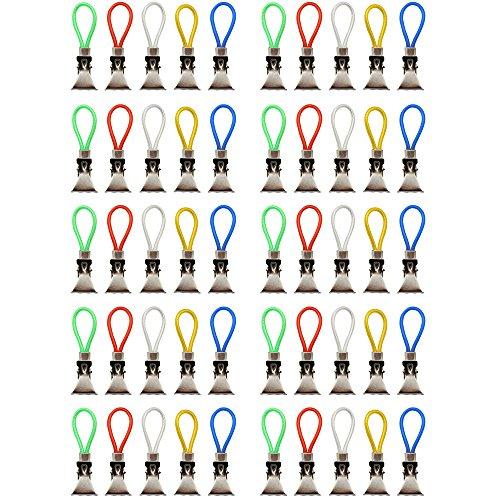 com-four® 50x Handtuchhalter-Clips aus Kunststoff und verchromten Metall, Bunte Klemmen als Handtuchhaken Clip-Aufhänger zum Aufhängen von Handtüchern, Topflappen, Geschirrtücher (50 Stück)