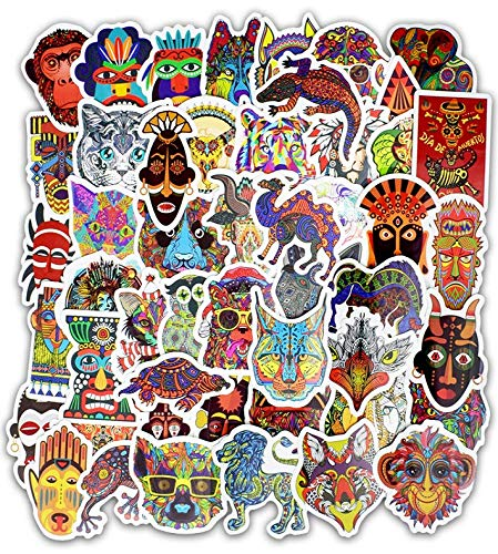 Trolley Stickers Graffiti Stickers Ethnic Totem Elements Notebook Personality Small Stickers Car Guitar Stickers Waterproof 50 Sheets