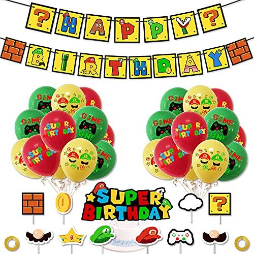 Mario Party Supplies - Decoración de cumpleaños con tema de Supermario para fiesta de cumpleaños, pancarta de cumpleaños, tarta, globo de látex, cinta, decoración de cumpleaños para niños y niñas