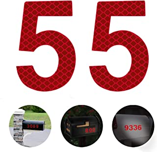 Reflective Mailbox Numbers,2-3/4 Inch Self-Stick Stainless Steel Mailbox Number 5,Street Address Reflective Numbers for Mailbox and Residence Signs,Red,2 pcs