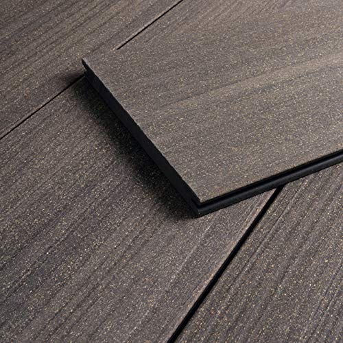 HORI® WPC-Terrassendiele Sylt Grau Massivdiele I Komplettset inkl. 45x45 mm Unterkonstruktion & Clips I Fläche: 1 Muster I Muster Dielenlänge