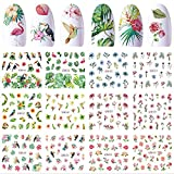 12 Sheets Flower Nail Art Stickers Water Transfer Nail Decals DIY Nail Designs Supplies Flowers Leaf Parrot Nail Tattoos Transfer Nail Foil Sticker for Acrylic Nails Design Manicure Tips Decorations