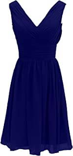 TalinaDress Womens Short Sleeveless Straps Chiffon V Neck Bridesmaid Dresses Prom Gowns E199LF