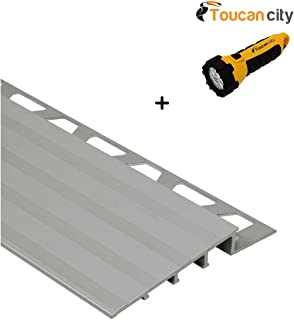 Toucan City LED Flashlight and Schluter Reno-Ramp Satin Anodized Aluminum 3/8 in. x 8 ft. 2-1/2 in. Metal Reducer Tile Edging Trim AERP100B65