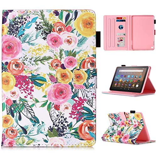All-New Kindle Fire HD 8 2020 & Fire HD 8 Plus Tablet Case - MonsDirect Folio PU Leather Smart Case Cover with Auto Wake/Sleep for Kindle Fire HD 8 Tablet (10th Gen, 2020 Release), Painting Flower