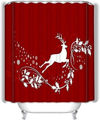 """Sketch Deer Elk Colorful Christmas Ball Waterproof Fabric Shower Curtain Set 72/"""""""