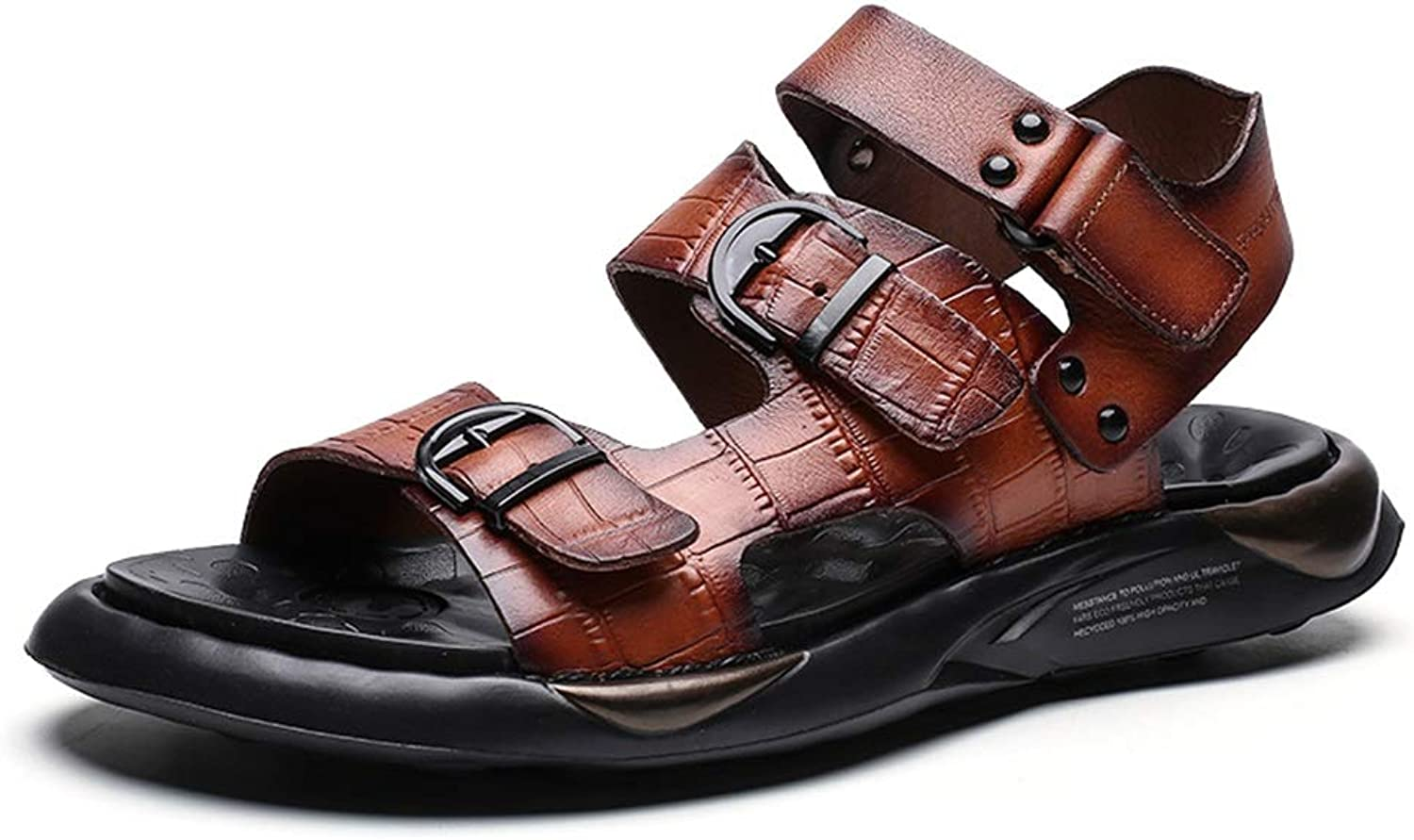 Sandals For Men Casual shoes Slip On OX Leather wear-resisting Toe Hook&Loop Strap Fixed by Revit With Buckledecro Cricket shoes (color   Brown, Size   8 UK)